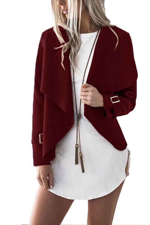 Attention-Getting Wine Red Open Front Draping Collar Coat