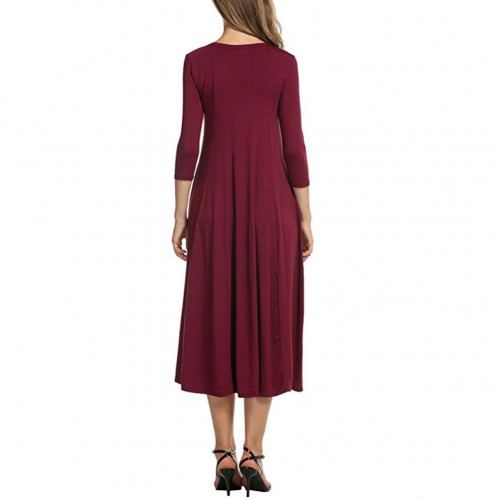 Solid Wine Red Stretchy Waist Dress 3/4 Sleeves Midi Length