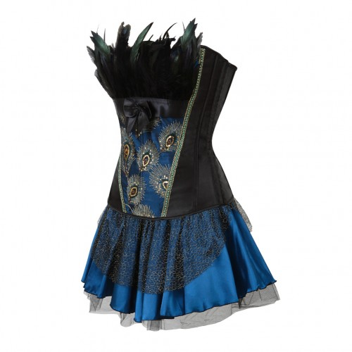 Typical Vintage Satin Bowknot Front Corset Feather Trim