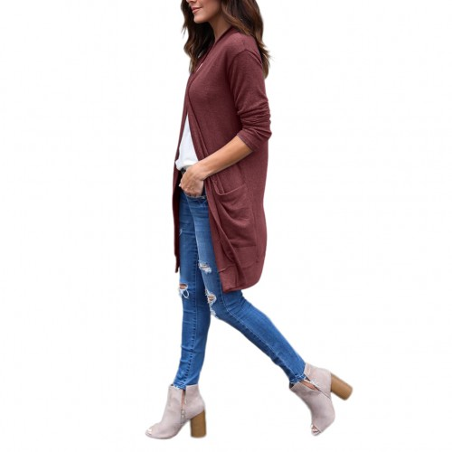 Loose Fit Solid Brick Red Coat With Pockets Full Sleeves