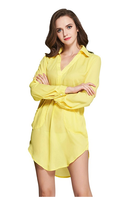 Yellow V Neckline Blouse Dress
