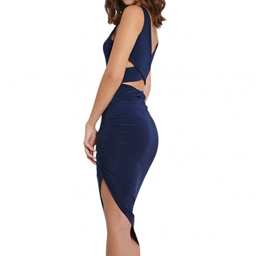 Navy Blue Cross Back Ruched Midi Bodycon Dress