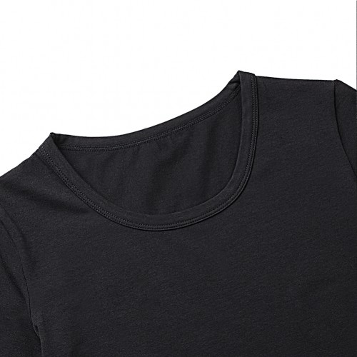 Breathable Solid Black Seamless Short Sleeves Bodysuit