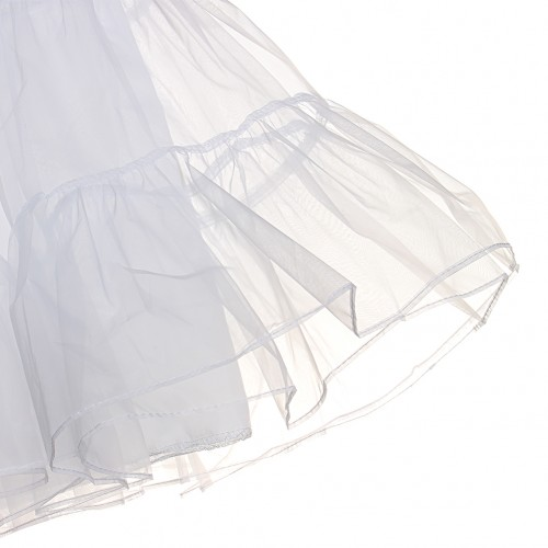 Adorable Tulle Flat Shape Waist White Petticoat Skirt
