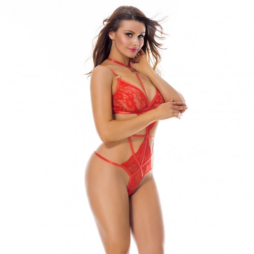 Passionate Red Ring Link Up One Piece Lace Lingerie Clasp