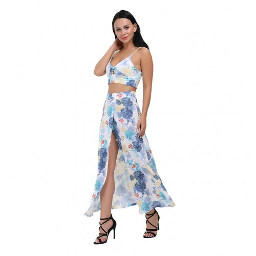 Elegant Floral Crop Top 2 Piece Dress Suit High Slit Skirt