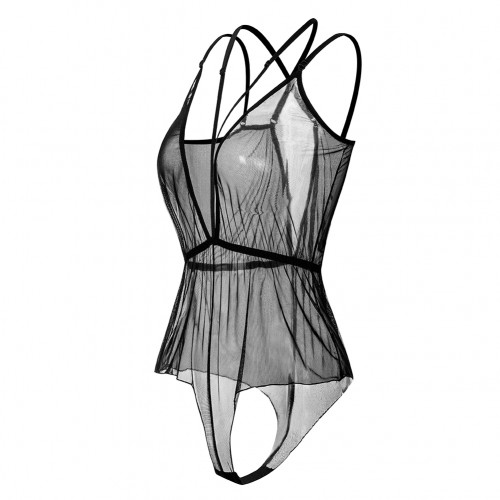 See Through Plunge Neck Strappy Mesh Teddy Lingerie