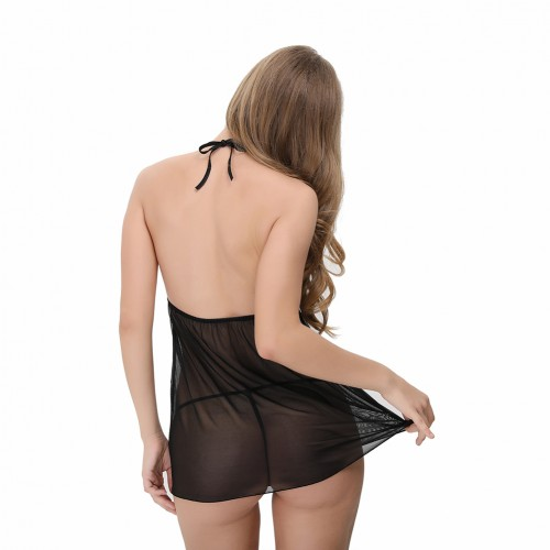 Sultry Strappy Detailing Tie Back Babydolls Above Knee Length