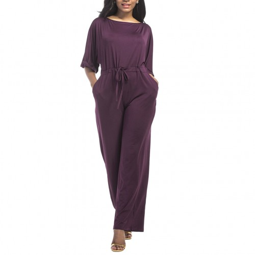 Faultless Loose Legs Large Jumpsuit Half Sleeves Keyhole Back