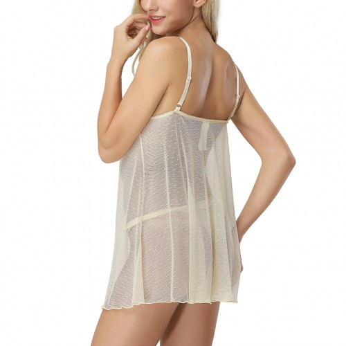 Beige Adjustable Straps Floral Lace Babydoll Sleeveless