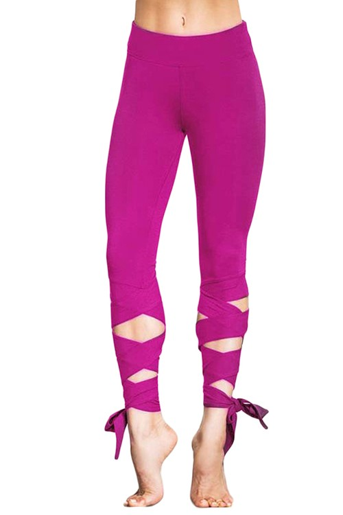 Ankle Length With Lace-Up Detailing Striking Purple Leggings