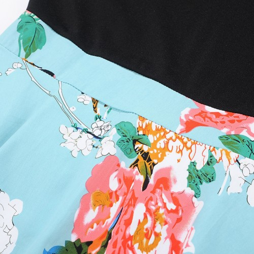 Colorful Flower Print Zipper Design Flared Dress Sleeveless