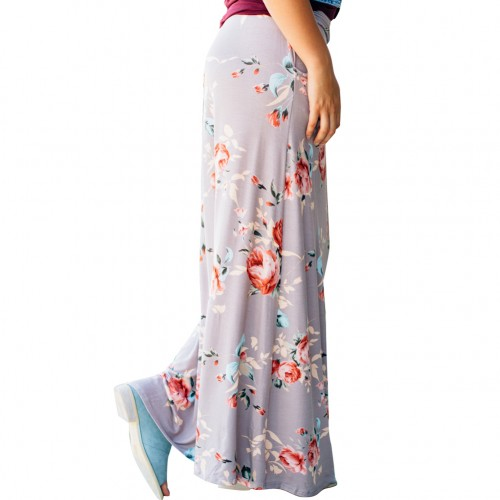 Ruffled Waist Allover Flower Print Skirt Pocket Design