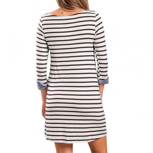 Comfortable Full Back Above Knee Length Dress Striped