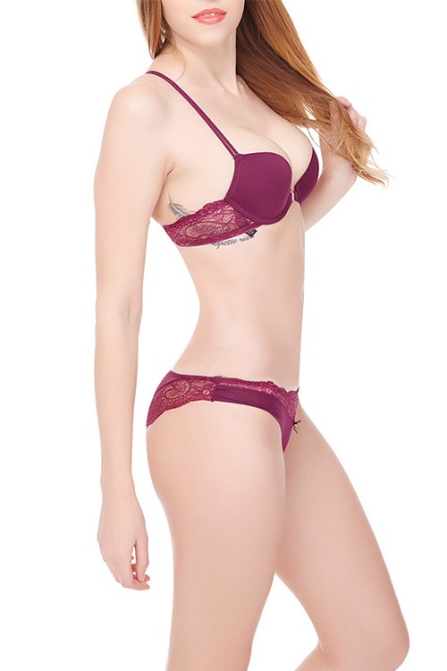 Wine Red Front Closure Ritzy Fuchsia Lace Ladies Matching Underwear Sets