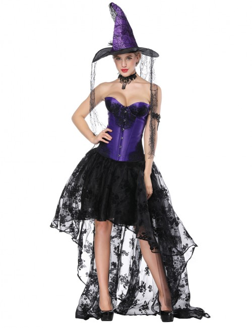 Gothic Purple Knotted Lace Patchwork Corset Skirt Set Superfit