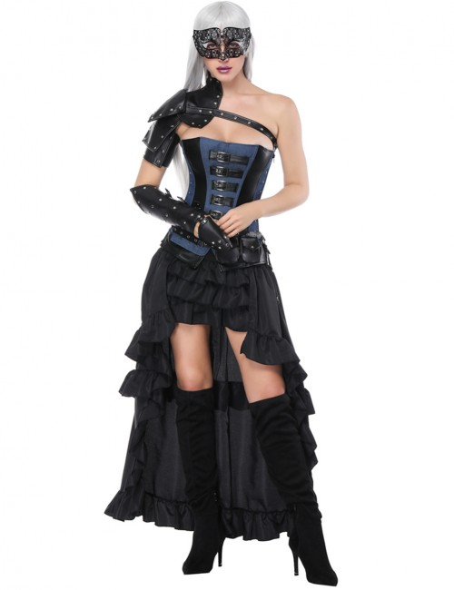 Flirting Black Mental Decor Layered Five Pieces Corset Sets With Belt