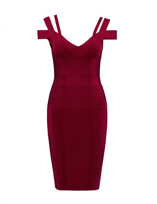 Flowing Wine Red Cold Shoulder Bandage Dress Back Zipper Sheath