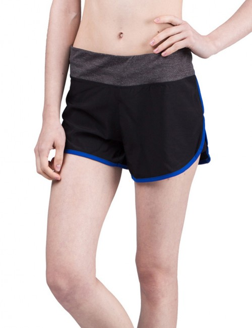 Middle Waist Gym Shorts Female Elegance Dark Blue Wide Waistband
