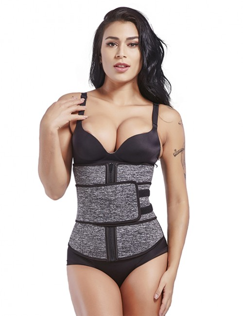 Queen Size Grey Neoprene Waist Cincher 7 Steel Bones Medium Control