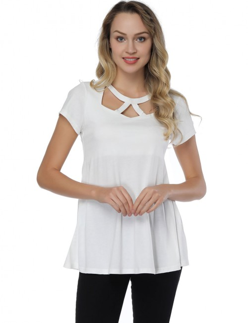 Brightly Cut Out White O Neck Blouses Swing Hem Fashion Online