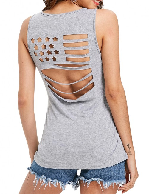 Blue Back Flag Cut Out Tank Explicitly Chosen Leisure