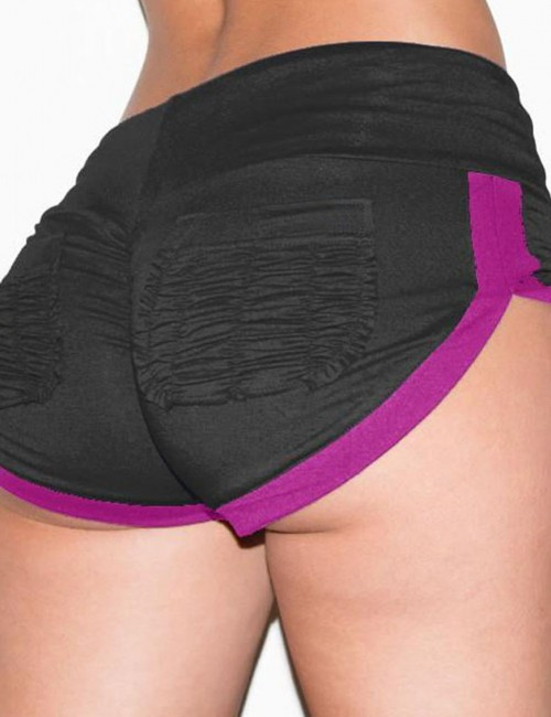 Black Shorts With Pockets Color Patchwork For Sexy Women