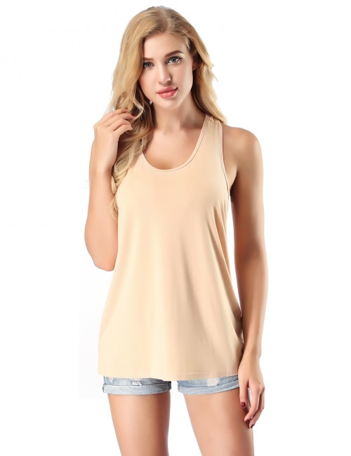 No Sleeves Modern Nude Bamboo Top High Elasticity For Hiking