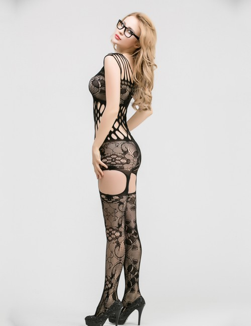 Free Cozy Black Hollow Out Bodystocking Strappy Shoulder