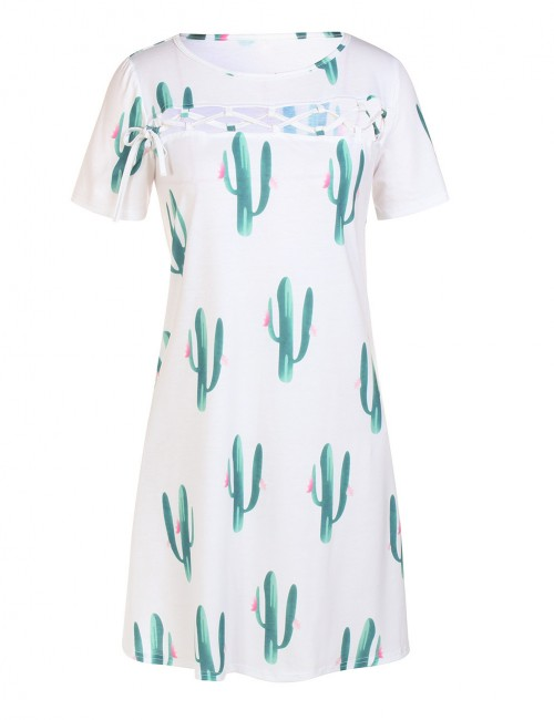Inviting White Hollow Out Mini Dress Cactus Print All Over Smooth