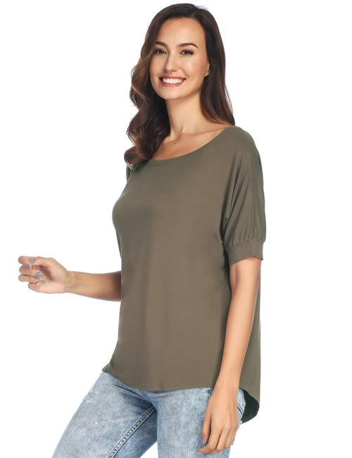 Army Green Short-Sleeved Tees Scoop Neck