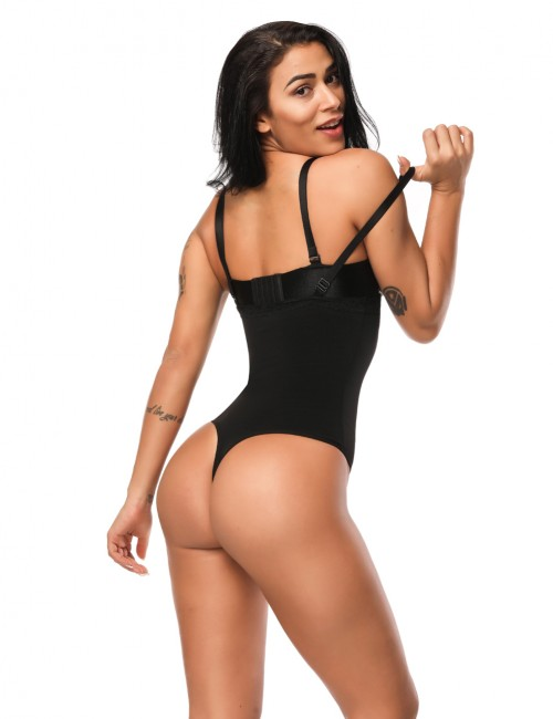 Black Lace Trim Thong Body Shapewear Waist Trimmer