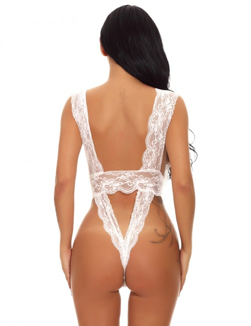 Aflutter White Hollow Out Teddy Lingerie Backless Lace