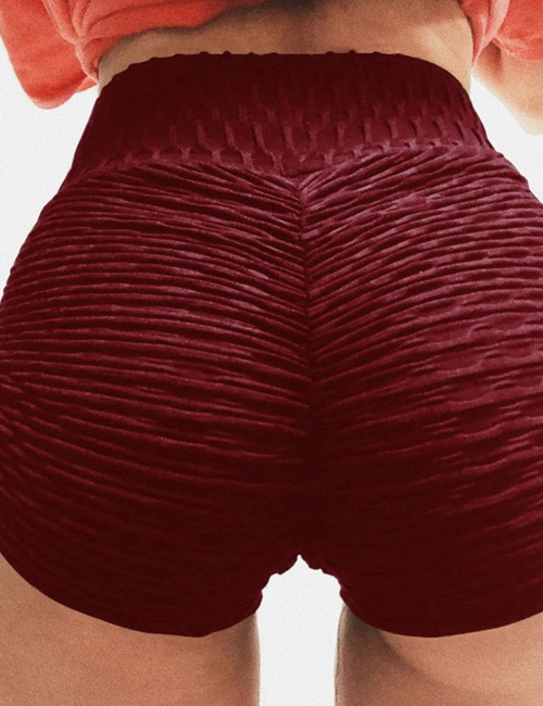 Wine Red Ruched Gym Shorts Booty Enhancer All Over Smooth
