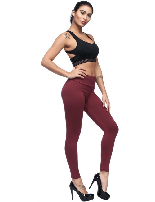 Illusion Purplish Red Small Pockets Brushed Leggings High Rise Home Clothes