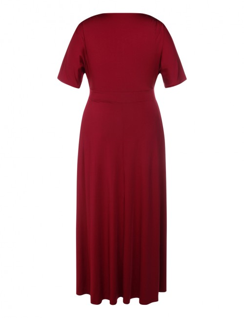 Alluring Wine Red Split Ruched Large  Floor Length Dresses