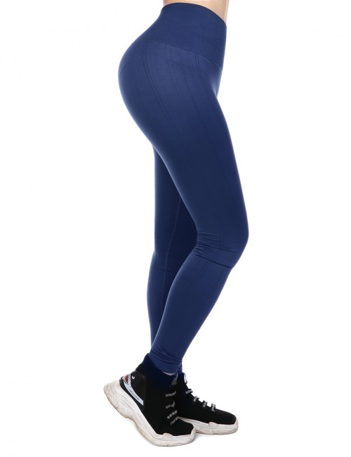 Navy Blue Empire Waist Yoga Legging Lift Hips Superior Quality