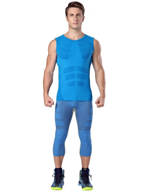 Compression Silhouette Blue Round Neck Tank Shaper Men Postpartum Recovery