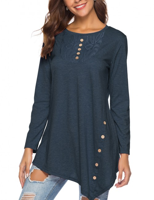Contouring Full Sleeves Blouse Lace Patchwork For Street Snap Navy Blue