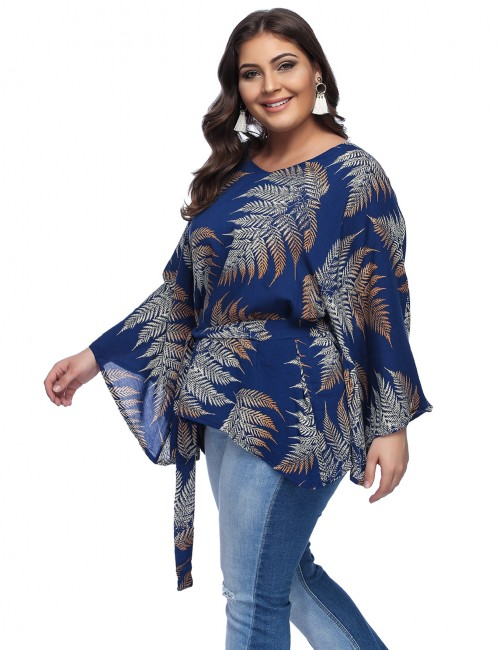 Comfy Printed Large Tops Bell Sleeves Fashion Navy Blue