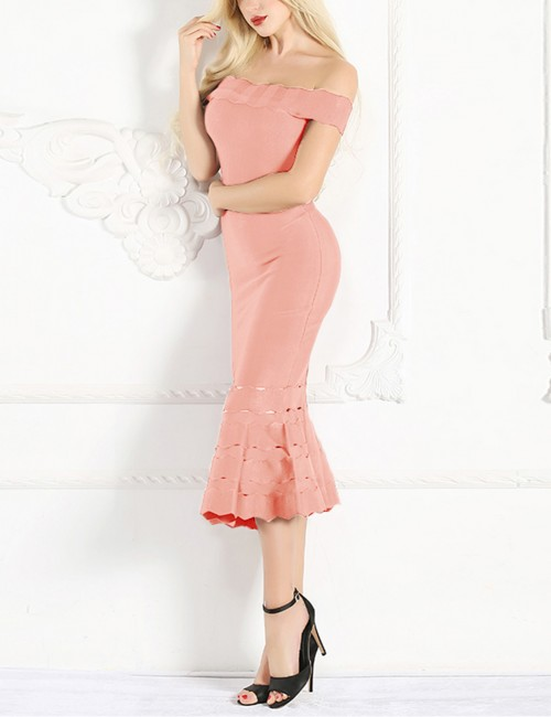 Apricot Delightful Off Shoulder Bodycon Dress Fishtail Hem For Streetshots