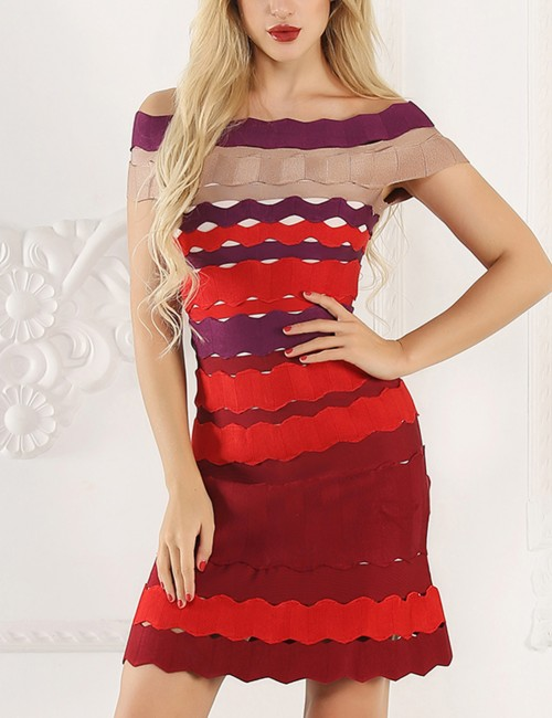 Loose Fitting Multi-Color Striped Bandage Dress Cheap Wholesale Off Shoulder