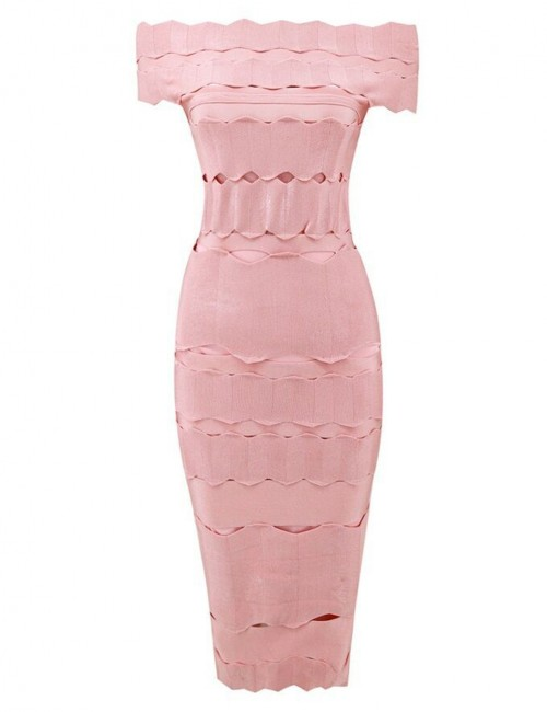Flowing Apricot Bodycon Jacquard Bandage Dresses Backless Sheath