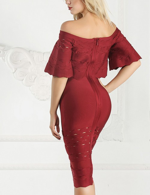 Glittering Wine Red Ruffled Bandage Dresses Hollow Out