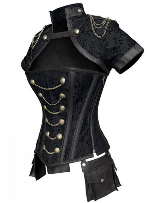 Black 12 Steel Bones Chains Jacquard Overbust Corset Top Comfort