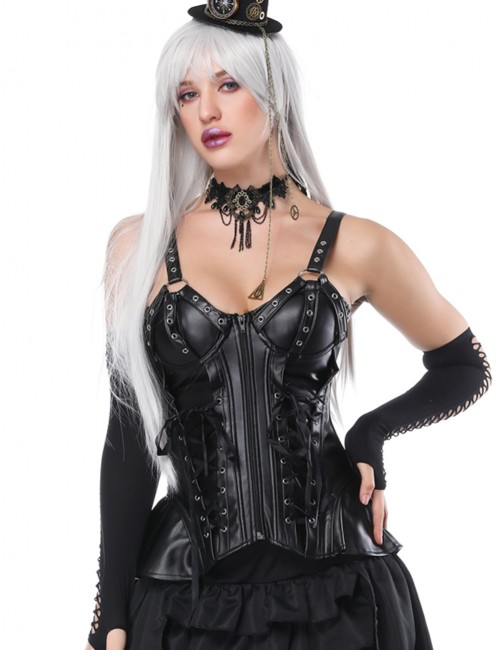 Ultra Hot Black Strap 9 Plastic Boned Lacing-Up Corset Waist Trainer