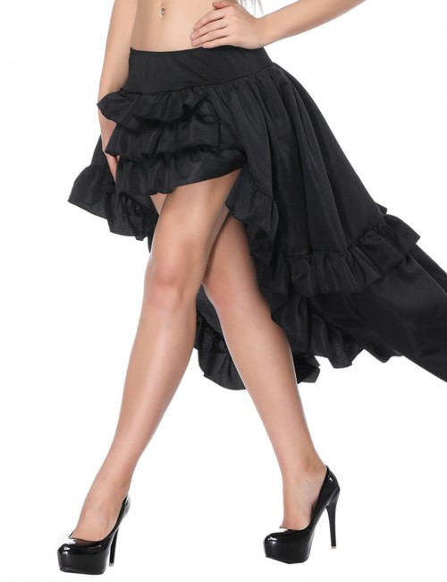 Explicitly Chosen Black Low Waisted Ruffle Skirt Asymmetry
