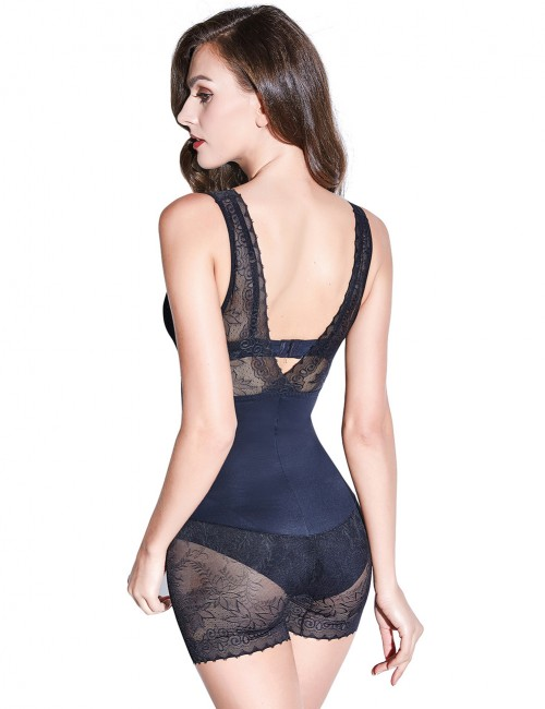 Medium Control Black Lace Trim V Shaped Bodysuit Shapewear Flatten Tummy