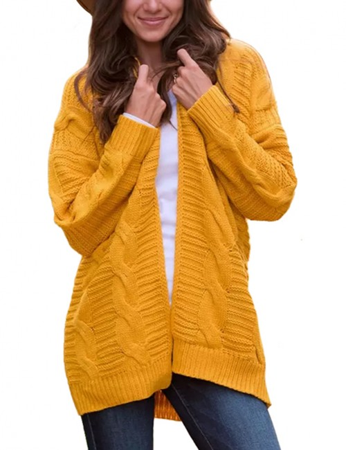 Affordable Yellow Knitted Cardigans Loose Fit Queen Size For Women