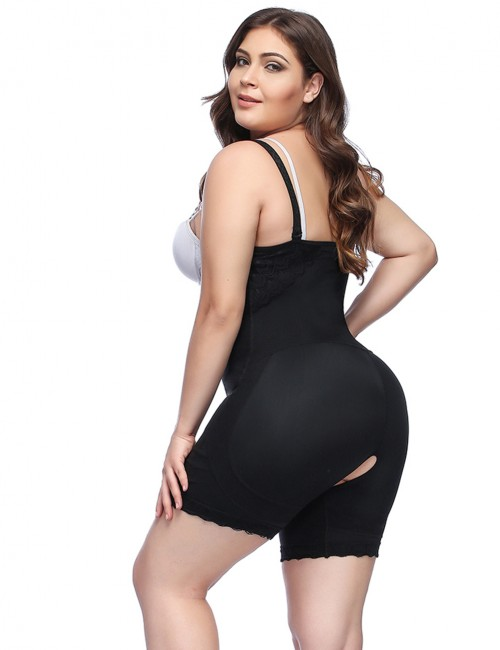Black Big Size Open Crotch Zipper Bodysuit Lace Comfort Revolution
